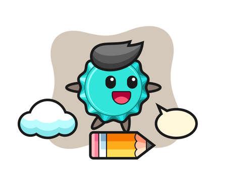 bottle cap mascot illustration riding on a giant pencil, cute style design for t shirt, sticker, logo element