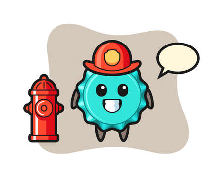 Mascot character of bottle cap as a firefighter, cute style design for t shirt, sticker, logo element