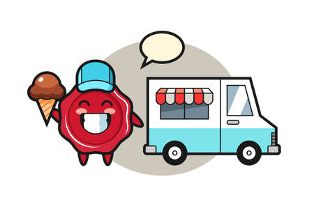 Mascot cartoon of sealing wax with ice cream truck, cute style design for t shirt, sticker, logo element