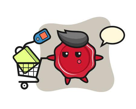Sealing wax illustration cartoon with a shopping cart, cute style design for t shirt, sticker, logo element