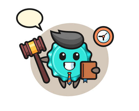 Mascot cartoon of bottle cap as a judge, cute style design for t shirt, sticker, logo element