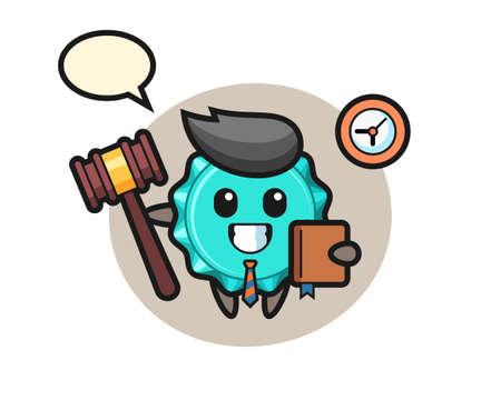 Mascot cartoon of bottle cap as a judge, cute style design for t shirt, sticker, logo element
