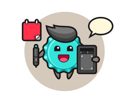 Illustration of bottle cap mascot as a graphic designer, cute style design for t shirt, sticker, logo element