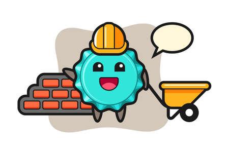 Cartoon character of bottle cap as a builder, cute style design for t shirt, sticker, logo element 向量圖像