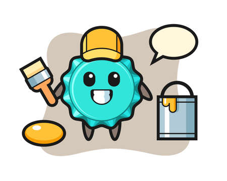Character Illustration of bottle cap as a painter, cute style design for t shirt, sticker, logo element 向量圖像