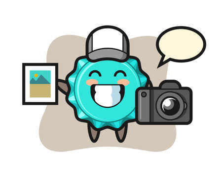 Character Illustration of bottle cap as a photographer, cute style design for t shirt, sticker, logo element