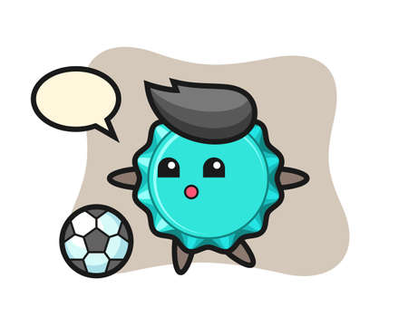 Illustration of bottle cap cartoon is playing soccer, cute style design for t shirt, sticker, logo element