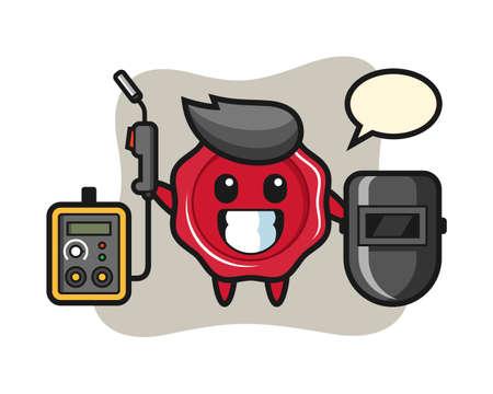 Character mascot of sealing wax as a welder, cute style design for t shirt, sticker, logo element