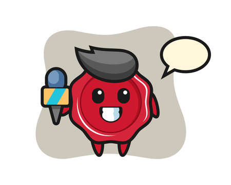 Character mascot of sealing wax as a news reporter, cute style design for t shirt, sticker, logo element