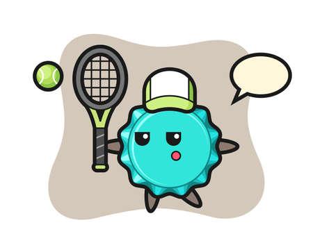 Cartoon character of bottle cap as a tennis player, cute style design for t shirt, sticker, logo element