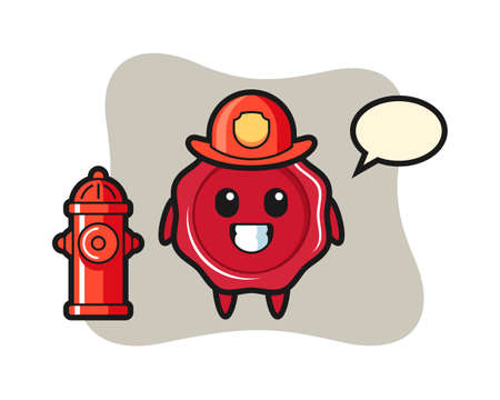 Mascot character of sealing wax as a firefighter, cute style design for t shirt, sticker, logo element