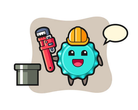 Character Illustration of bottle cap as a plumber, cute style design for t shirt, sticker, logo element