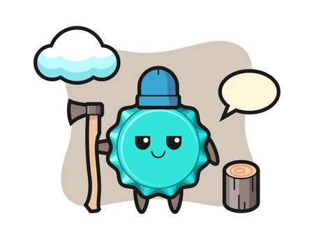 Character cartoon of bottle cap as a woodcutter, cute style design for t shirt, sticker, logo element 向量圖像
