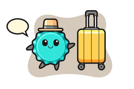 bottle cap cartoon illustration with luggage on vacation, cute style design for t shirt, sticker, logo element