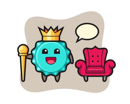 Mascot cartoon of bottle cap as a king, cute style design for t shirt, sticker, logo element