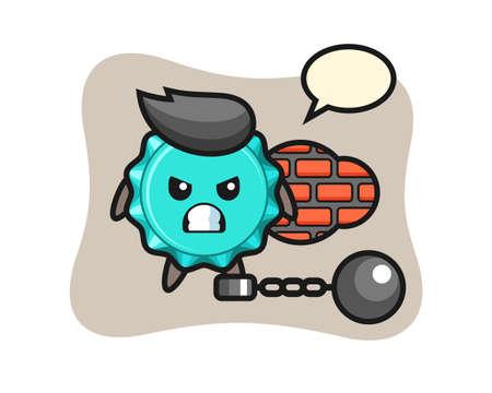 Character mascot of bottle cap as a prisoner, cute style design for t shirt, sticker, logo element
