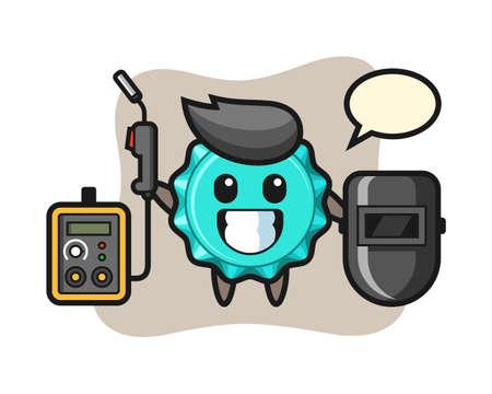Character mascot of bottle cap as a welder, cute style design for t shirt, sticker, logo element 向量圖像