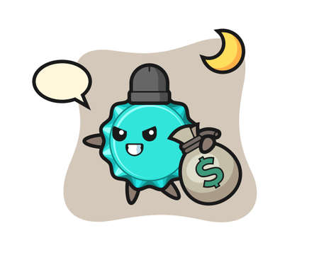 Illustration of bottle cap cartoon is stolen the money, cute style design for t shirt, sticker, logo element 向量圖像