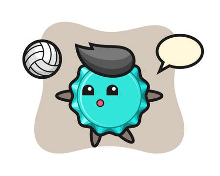 Character cartoon of bottle cap is playing volleyball, cute style design for t shirt, sticker, logo element