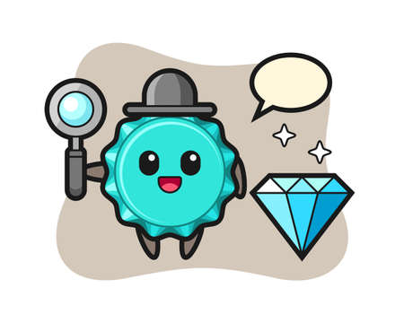 Illustration of bottle cap character with a diamond, cute style design for t shirt, sticker, logo element