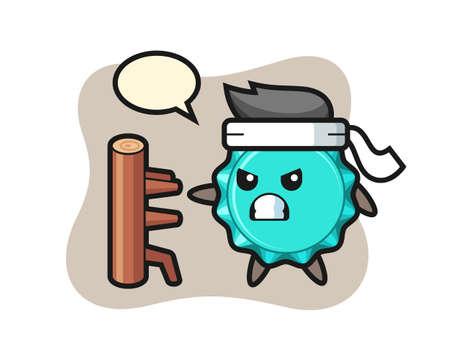 bottle cap cartoon illustration as a karate fighter, cute style design for t shirt, sticker, logo element