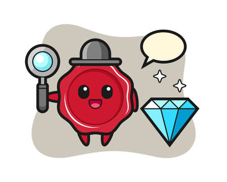 Illustration of sealing wax character with a diamond, cute style design for t shirt, sticker, logo element