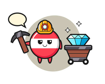 Character illustration of austria flag badge as a miner, cute style design for t shirt, sticker element