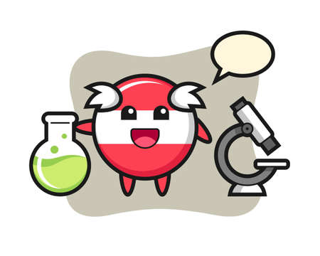 Mascot character of austria flag badge as a scientist, cute style design for t shirt, sticker element