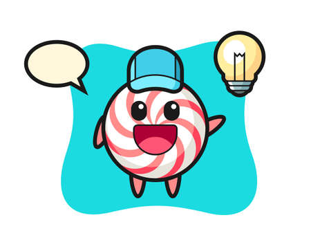 Candy character cartoon getting the idea, cute style design for t shirt, sticker, logo element
