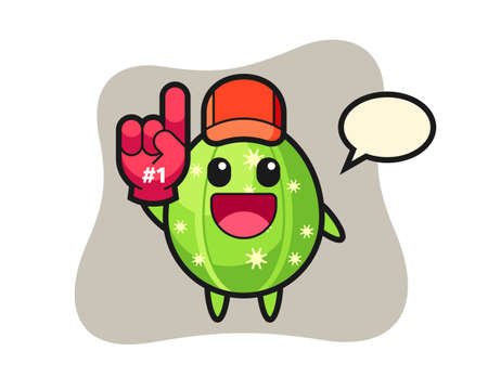 Cactus illustration cartoon with number 1 fans glove, cute style design for t shirt, sticker, logo element Vettoriali