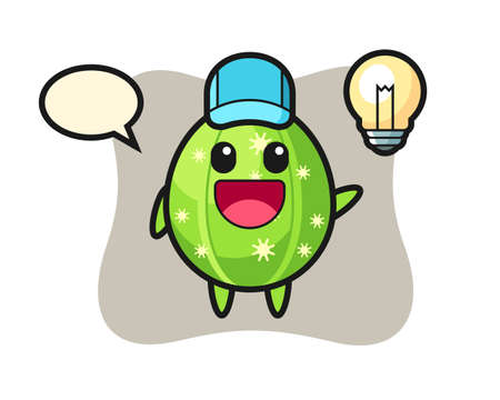 Cactus character cartoon getting the idea, cute style design for t shirt, sticker, logo element