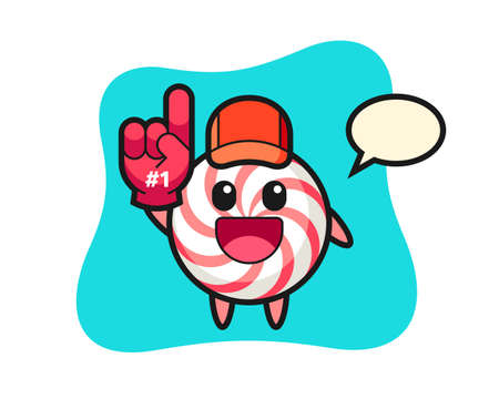 Candy illustration cartoon with number 1 fans glove, cute style design for t shirt, sticker, logo element