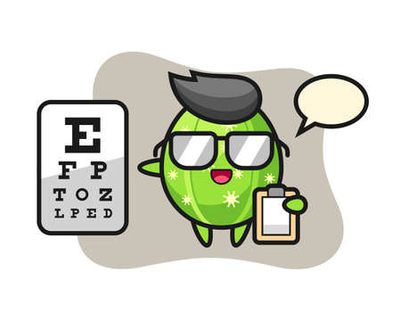 Illustration of cactus mascot as a ophthalmology, cute style design for t shirt, sticker, logo element