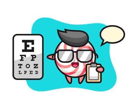 Illustration of candy mascot as a ophthalmology, cute style design for t shirt, sticker, logo element Illustration