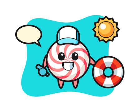 Cartoon mascot of candy as a beach guard, cute style design for t shirt, sticker, logo element