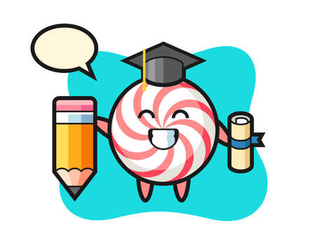 Candy illustration cartoon is graduation with a giant pencil, cute style design for t shirt, sticker, logo element
