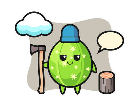 Character cartoon of cactus as a woodcutter, cute style design for t shirt, sticker, logo element Illusztráció