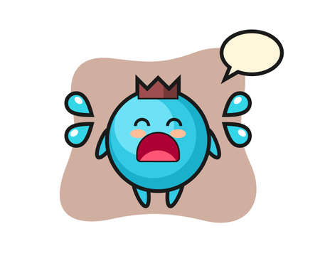Blueberry cartoon illustration with crying gesture, cute style design for t shirt, sticker, logo element