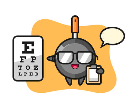 Illustration of frying pan mascot as a ophthalmology, cute style design for t shirt, sticker, logo element