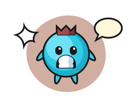 Blueberry character cartoon with shocked gesture, cute style design for t shirt, sticker, logo element