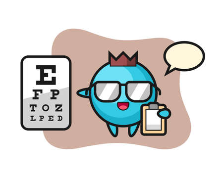 Illustration of blueberry mascot as a ophthalmology, cute style design for t shirt, sticker, logo element