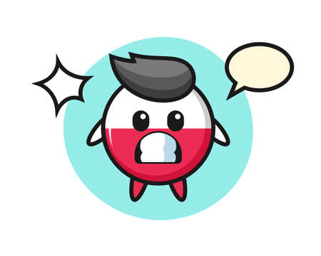 Poland flag badge character cartoon with shocked gesture, cute style design for t shirt, sticker, logo element