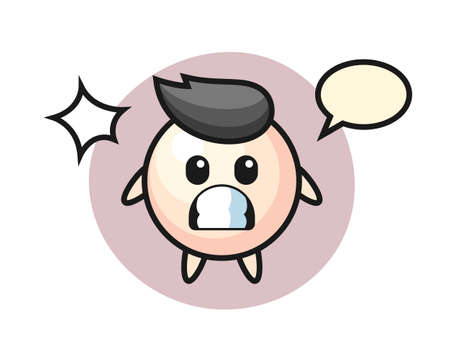 Pearl character cartoon with shocked gesture, cute style design for t shirt, sticker, logo element