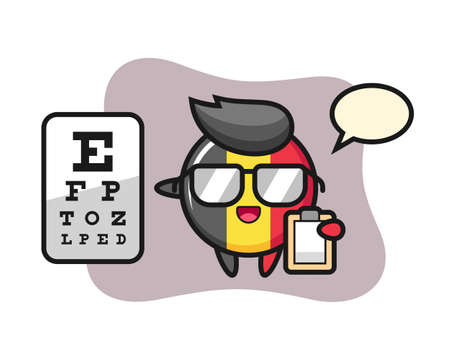 Illustration of belgium flag badge mascot as a ophthalmology, cute style design for t shirt, sticker, logo element Illustration