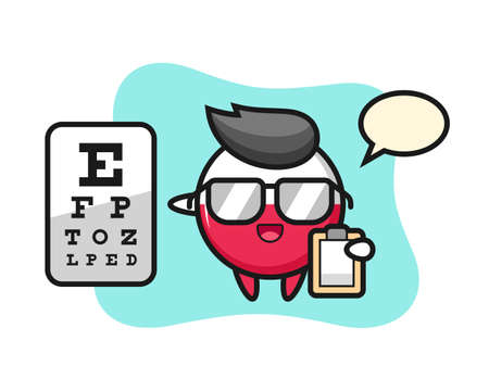 Illustration of poland flag badge mascot as a ophthalmology, cute style design for t shirt, sticker, logo element
