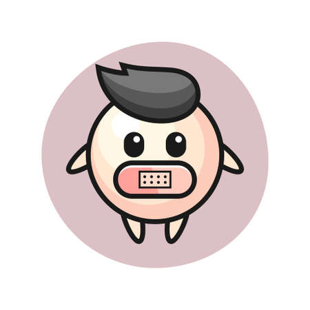 Cartoon illustration of pearl with tape on mouth, cute style design for t shirt, sticker, logo element