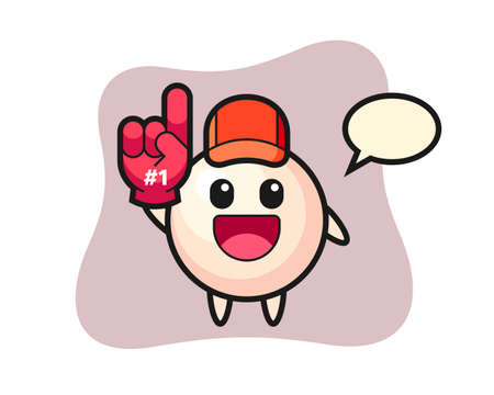 Pearl illustration cartoon with number 1 fans glove, cute style design for t shirt, sticker, logo element