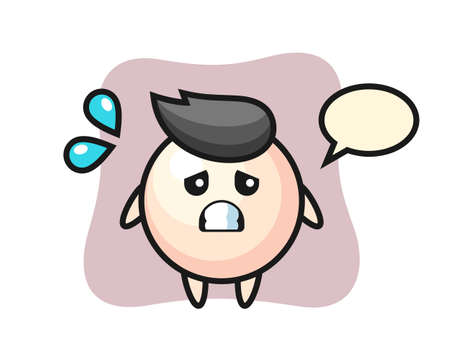 Pearl mascot character doing a tired gesture, cute style design for t shirt, sticker, logo element
