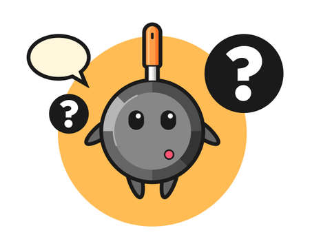 Cartoon illustration of frying pan with the question mark, cute style design for t shirt, sticker, logo element
