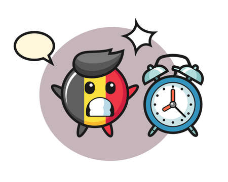 Belgium flag badge mascot illustration is surprised with a giant alarm clock, cute style design for t shirt, sticker, logo element